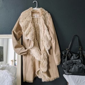 Fabulous Furs Long Suede Fur Trim Roller Coat